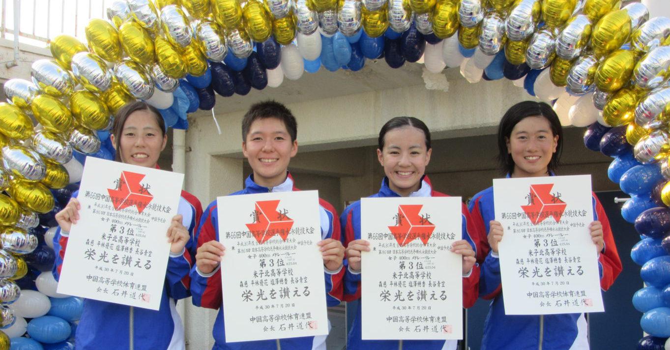 第66回中国高等学校選手権水泳競技大会の結果