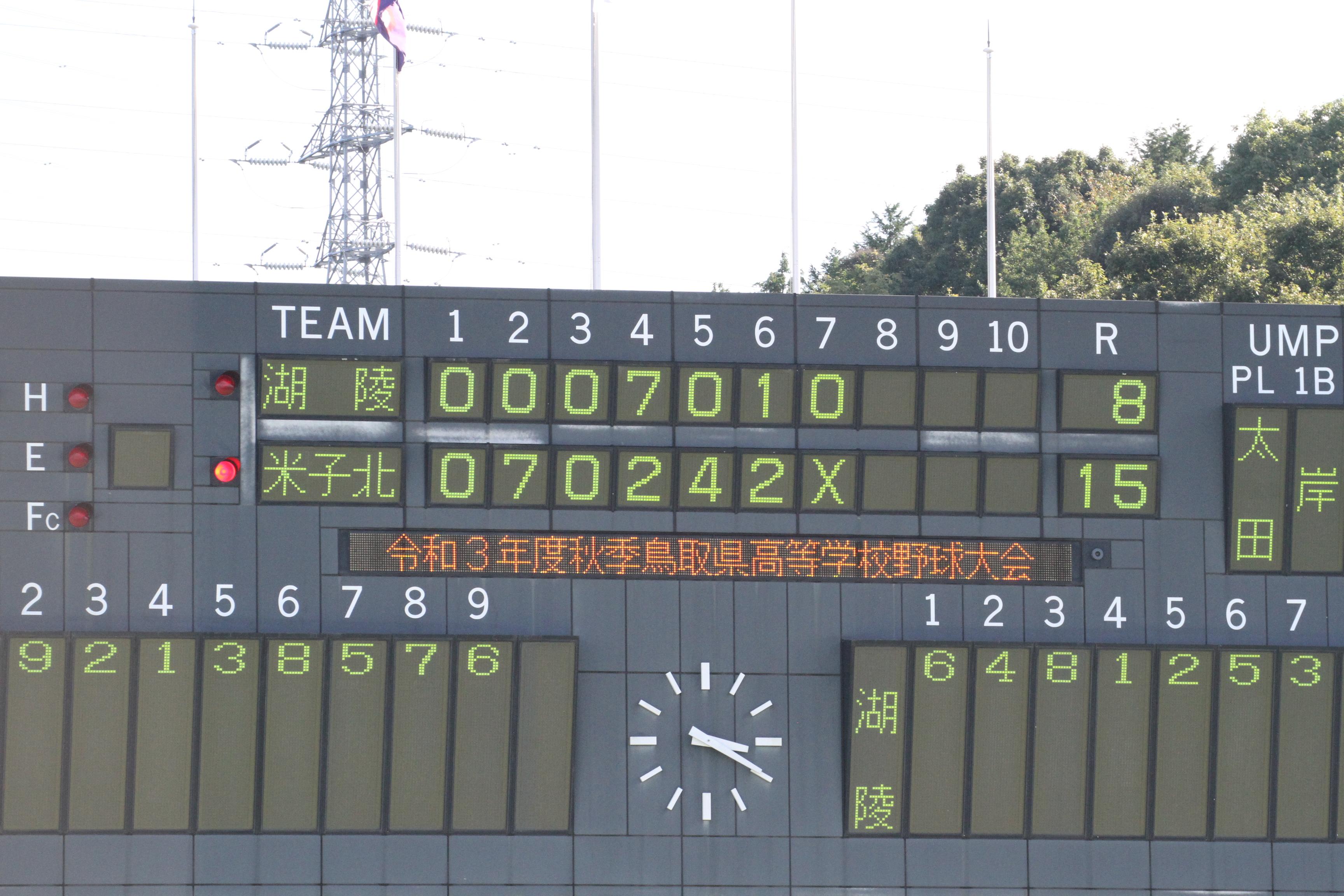 令和3年度 秋季鳥取県高校野球大会 第2回戦